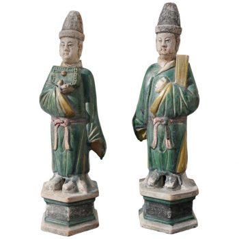 Ming Dynasty Sancai Glaze Dignitary Tomb Attendants 16th Century