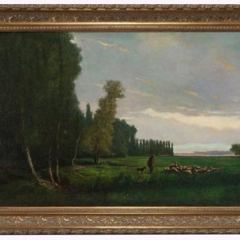 Charles Theodore Sauvageot Painting of Sheep and Shepherd in Landscape