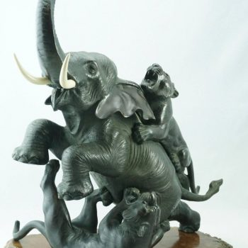 Japanese Meiji Genryusai Seiya Bronze Elephant and Tigers