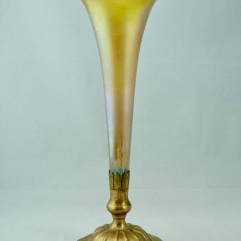 Tiffany Studios New York Bronze and Favrile Trumpet Vase