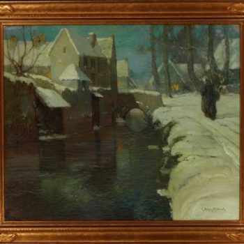 "George Ames Aldrich Oil Painting ""Winter Evening"" 1920"
