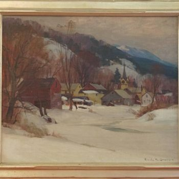 "Emile Albert Gruppe ""Winter Cambridge"" Oil Painting, 1946"