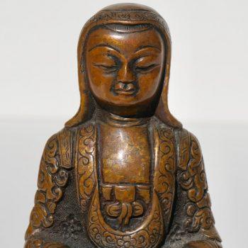18th- 19th Century Tibetan Copper Alloy Bronze Lama Buddha with Silver Inlay