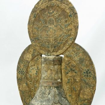 17th Century Tibetan Embroidered Silk and Wood Carved Buddha Stupa