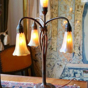 Tiffany Studios Four Lily Light Bronze Table Desk Lamp, circa 1900