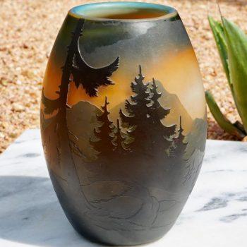 Muller Frères Luneville French Cameo Mountain Landscape Vase