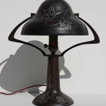 Art Deco Heintz Bronze Silver Overlay Arts & Crafts Table Lamp