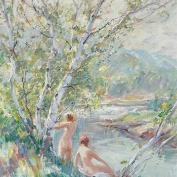 "Emile Albert Gruppe ""Nymphs"" Oil Painting Nudes by a River"