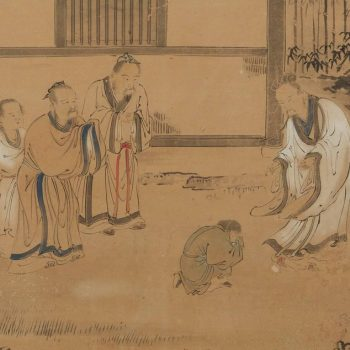 Qing Dynasty Six-Panel Screen Painting of Landscape With Horses and Figures