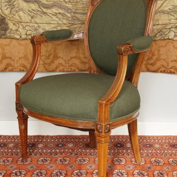 French Louis XVI Walnut Upholstered Armchair Fauteuil, Late 18th Century