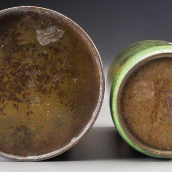 Two Heintz Silver Overlay Patinated Bronze Vases