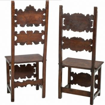17th Century Pair of Lombardian Italian Swiss Carved Chairs