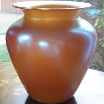 Durand Irredescent Art Deco Orange and Gold Glass Vase