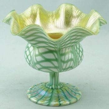 Quezal Floriform Fishnet and Zipper Decorated Compote