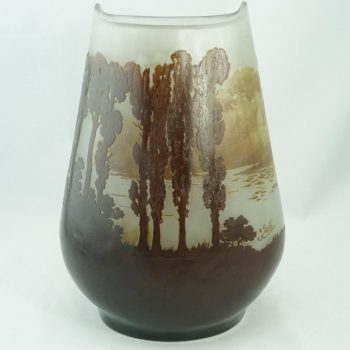 Monumental Emile Galle Lake and Forest Scenic Cameo Vase