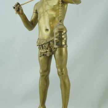Adolphe Jean Lavergne Large Gilt Bronze Figure of a Boy with Lantern