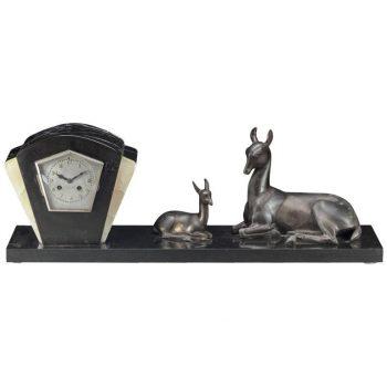 Irenee Rochard French Art Deco Large Mantle Clock with Deer, circa 1925