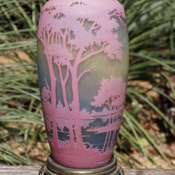 Daum Nancy Cameo Landscape Pink Vase Lamp