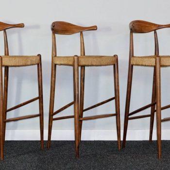 Three Teak Arthur Umanoff Mid-Century Modern Cow Horn Stools