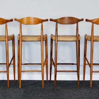 Four Teak Arthur Umanoff Danish Mid-Century Modern Cow Horn Stools
