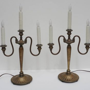 Pair of Tiffany Studios New York Bronze Candelabrum Lamps, 1890