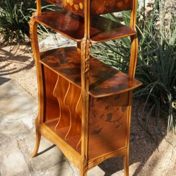 Signed Louis Majorelle French Marquetry Etagere Music Cabinet, 1900