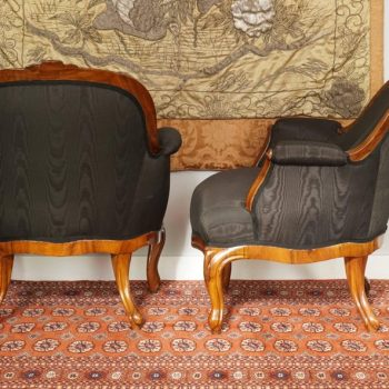 Pair of French Period Louis Philippe Walnut Armchairs Bergeres, 1840