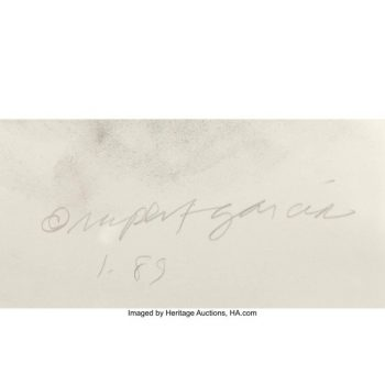 Rupert Garcia Diptych Pastel on Paper, 1988