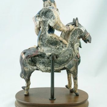 Yuan or Ming Dynasty Pottery Horse and Rider Wall Tile