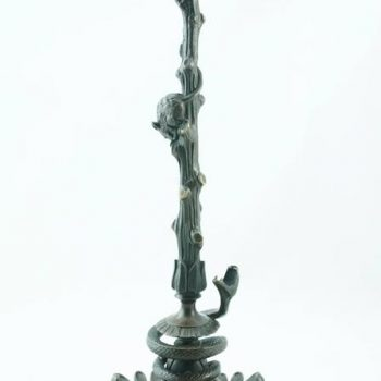 Victor Paillard Pair of Bronze Snake and Mouse Candelabra