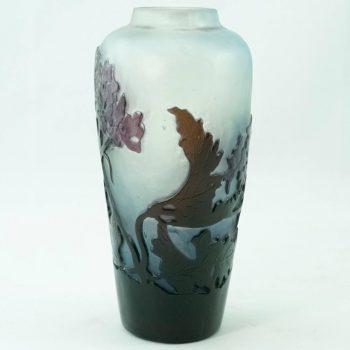 Emile Galle Art Nouveau Window Pane Deep Carved Vase