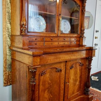 English Victorian Flame Mahogany Bookcase
