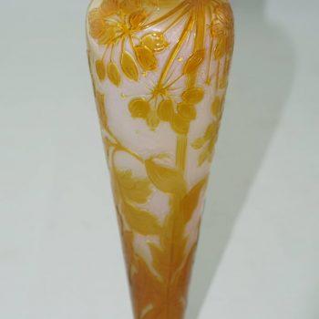 Emile Galle Early Fire Polished Art Nouveau Cameo Vase