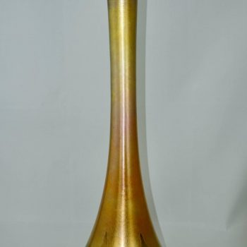 Monumental Louis Comfort Tiffany Favrile Pull Feathered Decorated Vase