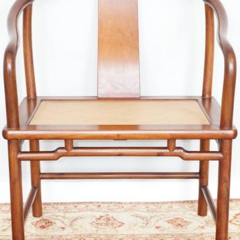 Pair of Mid-Century Huanghuali Chinese Rosewood Horseshoe Side Armchairs
