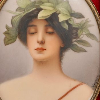 Wagner Porcelain Plaque Painting of Daphne by C.M. Hutschenreuther