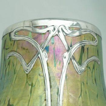 Loetz Crete Papillon Silver Overlay Art Nouveau Vase