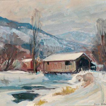 "Emile Albert Gruppe 'Mass 1896-1978' ""Covered Bridge"" Snow Painting"