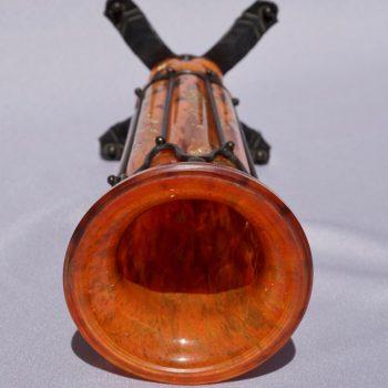 Daum Nancy Louis Majorelle Glass Soufflé and Iron Vase