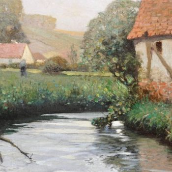 George Ames Aldrich Impressionist Oil Painting Summer Stream, 1908