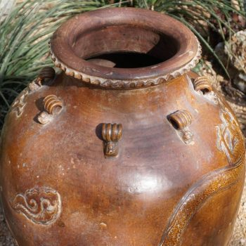 Chinese Ming dynasty Martaban 39 Inch Stoneware Storage Vase with Dragons