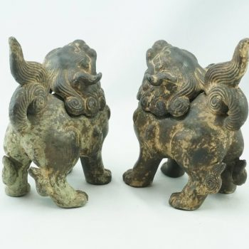 19th Century Qing Chinese Cast Iron Foo Dogs Lions Incense Burners