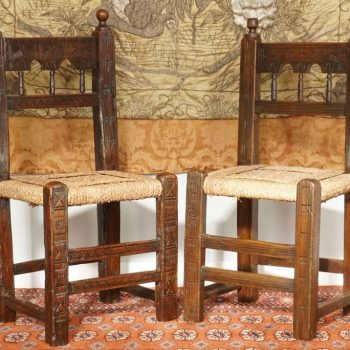 Four 17th Century Spanish Moorish Side Chairs