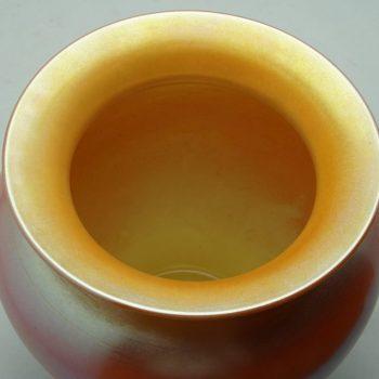 Durand Irredescent Art Deco Orange and Gold Glass Vase