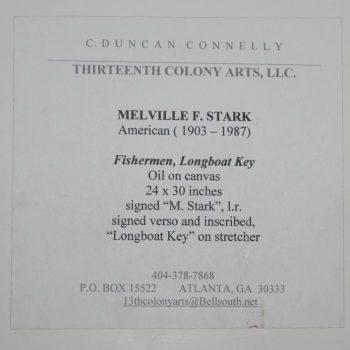 """Melville Stark Midcentury Oil Painting of Fishermen """"Longboat Key"""""""