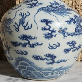 Qing Dynasty Blue and White Imperial Ming Style Dragon Vase