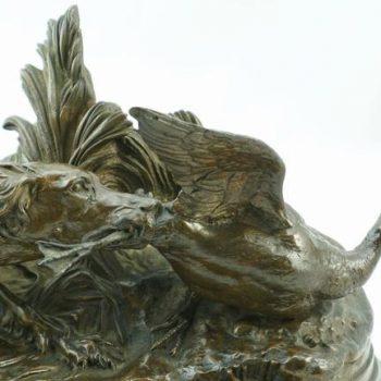 Pierre Jules Mene Spaniel Capturing a Duck Bronze