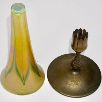 Tiffany Studios Bronze and Favrile LCT Feather Pulled Trumpet Vase