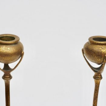 Tiffany Studios New York 1213 Gilt Bronze Candlesticks