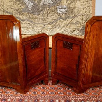 Pair French Art Deco Mahogany Red Club Armchairs, 1930